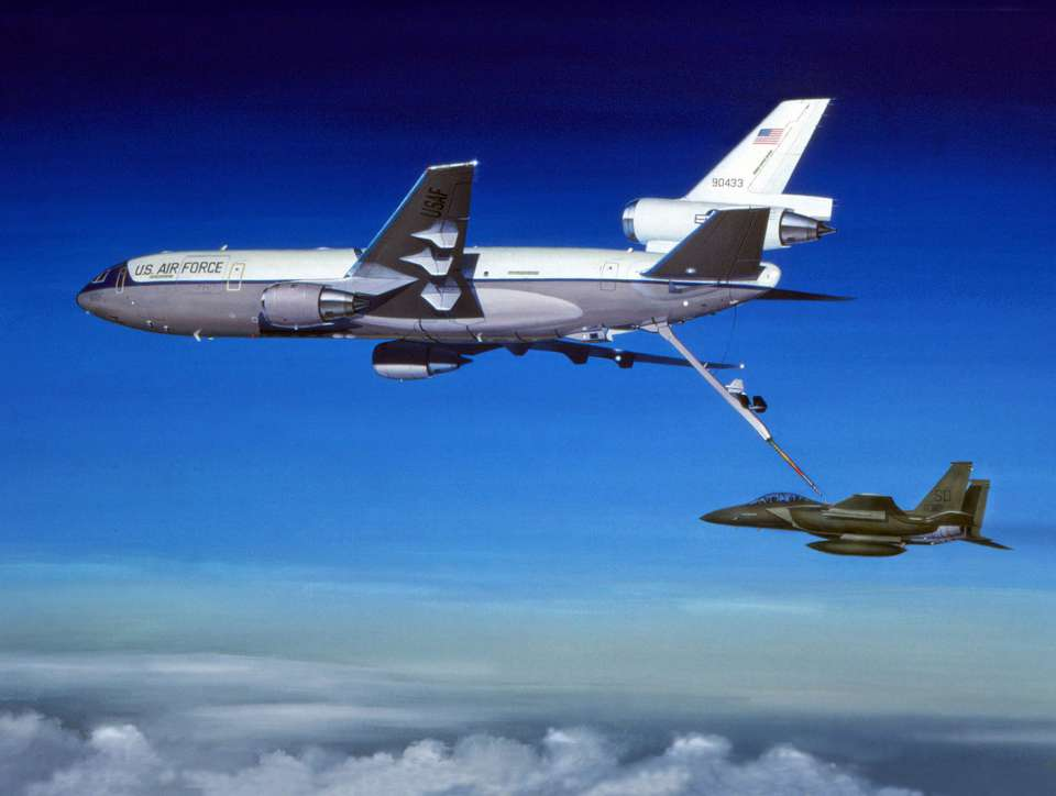 Douglas KC-10 Extender & MD F-15E Eagle by Mike Machat-960