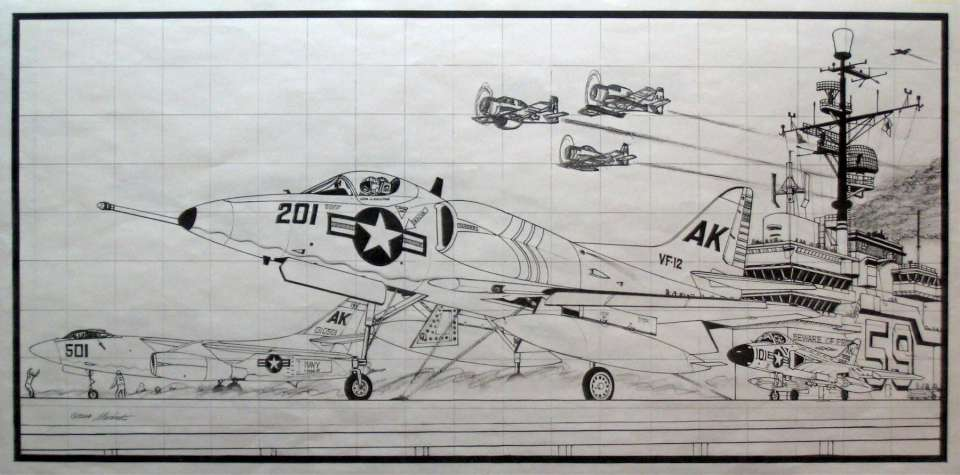 Fly Navy sketch, USS Forrestal 1958-960