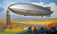 R-100 Airship with mooring