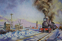 Steam train in snow-960